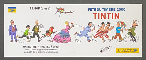 """Carnet Fête du timbre 2000 - Tintin""- Stamp Festival 2000 booklet - Tintin - booklet nr. BC3305 with 7 MNH stamps - France - 2000  Yvert & Tellier: stripe booklet (bande carnet) nr. BC3305 with stamps 3303-3304"