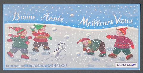 """Carnets commémoratifs - Meilleurs voeux""- Commemorative booklet - Best wishes - booklet nr. BC3440a with 10 MNH old stamps - France - 2001  Yvert & Tellier: stripe booklet (bande carnet) nr. BC3440a with stamps 3439-3440"