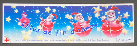 """Carnets Croix-Rouge - Fêtes de fin d'année""- Red-Cross booklet - End of year celebrations - booklet nr. 2050 with 10 MNH stamps- France - 2001  Yvert & Tellier: stripe booklet (bande carnet) nr. 2050 with stamps 3036"