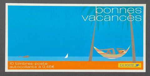 """Carnets commémoratifs - Bonnes vacances""- Commemorative booklet - Happy holidays - booklet nr. BC3494a with 10 MNH stamps - France - 2002  Yvert & Tellier: stripe booklet (bande carnet) nr. BC3494a with stamps 3494"