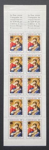 """Carnets Croix-Rouge - Le sommeil de l'enfant Jésus""- Red-Cross booklet - The sleep of the baby Jesus - booklet nr. 2051 with 10 MNH old stamps - France - 2002  Yvert & Tellier: stripe booklet (bande carnet) nr. 2051 with stamps 3531a"