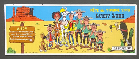 """Carnet Fête du timbre 2003 - Lucky Luke""- Stamp Festival 2003 booklet - Lucky Luke - booklet nr. BC3546a with 8 MNH old stamps - France - 2003  Yvert & Tellier: stripe booklet (bande carnet) nr. BC3546a with stamps 3546-3547"