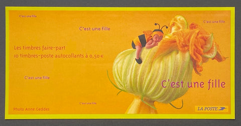 """Carnets commémoratifs - C'est une fille""- Commemorative booklet - It's a girl - booklet nr. BC3634 with 10 MNH old stamps - France - 2004  Yvert & Tellier: stripe booklet (bande carnet) nr. BC3634 with stamps 3634"