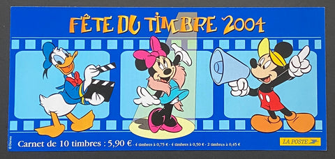 """Carnet Fête du timbre 2004 - Mickey, Donald, Minnie""- Stamp Festival 2004 booklet - Mickey, Donald, Minnie - booklet nr. BC3641a with 10 MNH old stamps - France - 2004  Yvert & Tellier: stripe booklet (bande carnet) nr. BC3641a with stamps 3641-3642-3643"