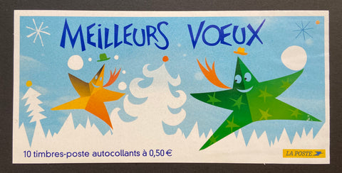 """Carnets commémoratifs - Meilleurs voeux 2005""- Commemorative booklet - Best wishes 2005 - booklet nr. BC3722 with 10 MNH old stamps - France - 2004  Yvert & Tellier: stripe booklet (bande carnet) nr. BC3722 with stamps 3722/3726"