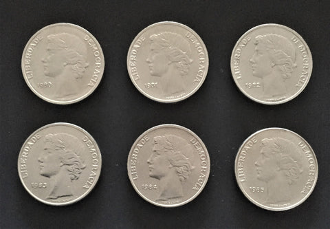 Set of 6 old coins of 25$00 - Portugal - 1980 to 1985  Facial value: 25 escudos Year: 1980 to 1985 Time: República Portuguesa from 1910 Composition: copper-nickel