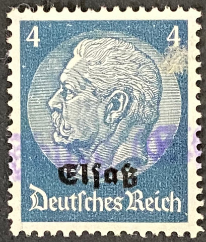 "Marshal Hindenburg surcharged ""Elsass"" - 4 pfg used old stamp - Germany - 1940  Type:  Yvert & Tellier: Alsace Lorraine 9"