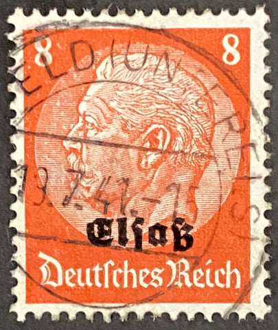 "Marshal Hindenburg surcharged ""Elsass"" - 8 pfg used old stamp - Germany - 1940  Type:  Yvert & Tellier: Alsace Lorraine 12"