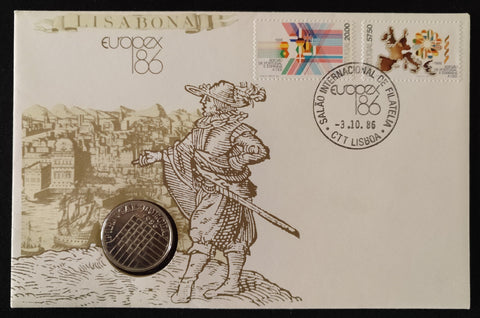 "Envelope with 25$00 - Accession of Portugal to the EEC - old coin and 2 old stamps - Accession of Portugal and Spain to the EEC - commemorative of the ""Salão Internacional de Filatelia de Lisboa - europex86"" - Lisbon International Philatelic Exhibition - europex86 - Portugal - 1986"