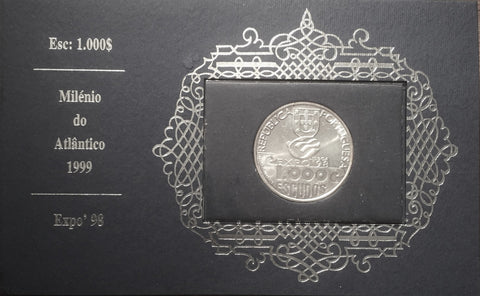 "Colecções Philae 1000$00 silver old coin commemorative of the ""Milénio do Atlântico - EXPO98"" - Millenium of the Atlantic Ocean - EXPO98 - Portugal - 1999"
