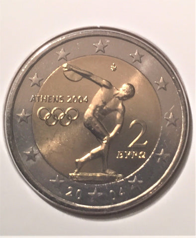 "Leaflet colecções Philae with 2 € old coin commemorative of the ""Jogos Olímpicos de Atenas 2004"" - Olympic Games Athens 2004 - Portugal - 2004"
