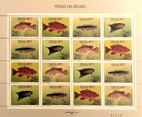 "Macau minisheet with 16 old stamps - ""Peixes da Região"" - Region fishes - Macau - 1990"