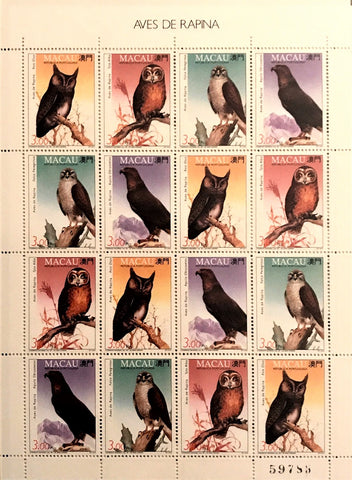 "Macau minisheet with 16 old stamps - ""Aves de Rapina"" - Birds of prey - Macau - 1993"