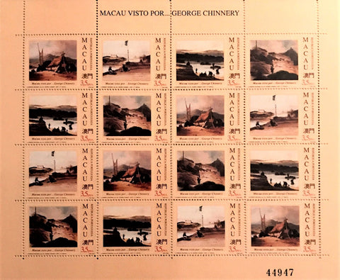 "Macau minisheet with 16 old stamps - ""Macau visto por GEORGE CHINNERY"" - Macao seen by GEORGE CHINNERY - Macau - 1994"