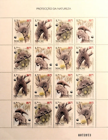"Macau minisheet with 16 old stamps - ""Proteção da Natureza"" - Nature Protection - Macau - 1995"