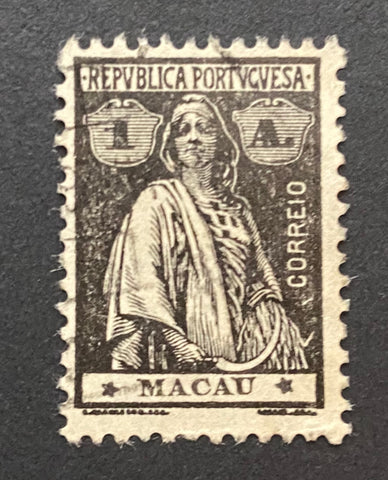 """Ceres"" - 1 avo used old stamp - Macau - 1913  Afinsa Portuguese former colonies: 211"