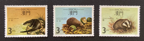 """Fauna Regional em Extinção"" - Region's endangered wildlife - set of 3 MNH 3 patacas old stamps - Macau - 1988  Afinsa Portugal former colonies catalogue: 563-564-566"