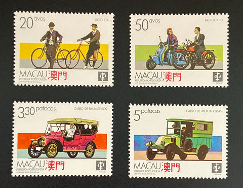 """Meios de Transporte Terrestres"" - Road transportation means -  complete set of 4 mint never hinged old stamps - Macau - 1988  Afinsa: 570 / 573"