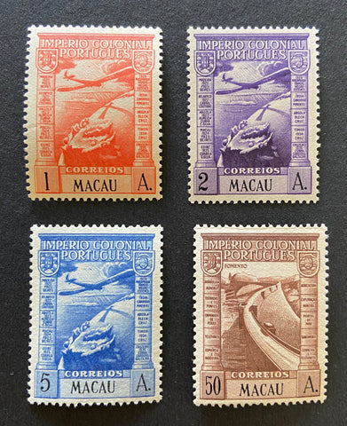 """Correio aéreo - Império Colonial Português"" - Air Mail - Portuguese Colonial Empire - set of 4 MNH old stamps - Macau - 1938  Afinsa Portugal former colonies catalogue - Air Mail: 7/13"