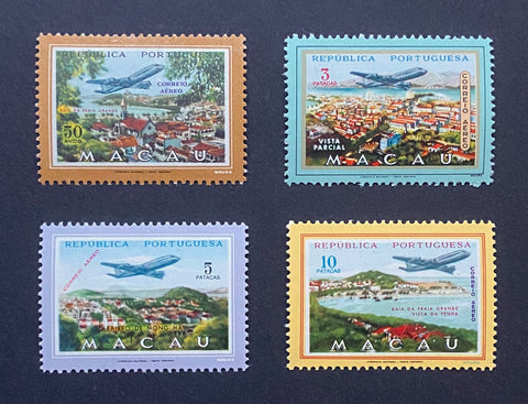 """Correio aéreo - Vistas de Macau"" - Air mail - Views of Macau - set of 4 MNH old stamps - Macau - 1960  Afinsa Portugal former colonies catalogue - Air Mail: 16/20"