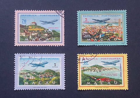 """Correio aéreo - Vistas de Macau"" - Air mail - Views of Macau - set of 4 used old stamps - Macau - 1960  Afinsa Portugal former colonies catalogue - Air Mail: 17/20"