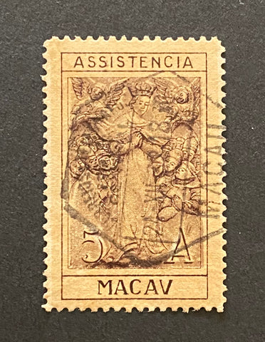 """Postal tax"" - used old stamp ""Nossa Senhora das Misericórdias"" - ""Our Lady of Mercy"" - with 5 avos tax - Macau - 1930  Afinsa: Postal Tax - Imposto Postal nr. 6"