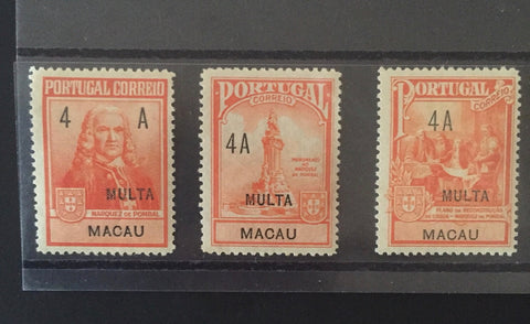 """Postal tax due"" - complete set of 3 old stamps from Portugal Marquis de Pombal with 4 avos tax due fine - série completa de 3 selos ""Marquês de Pombal""com multa 4 avos - Macau - 1925  Afinsa: Postal Tax Due - Imposto Postal porteado - multa nrs. 1-2-3"