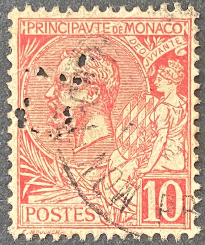 Prince Albert I - 10 centimes used old stamp - Monaco - 1901  Type: typography Yvert & Tellier: MC 23