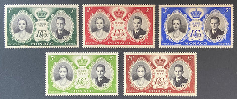 """Mariage du Prince Rainier III et Grace Kelly"" - Wedding of Prince Rainier III and Grace Kelly - complete set of 5 MNH old stamps - Monaco - 1956  Type: taille-douce Yvert & Tellier: MC 473 / 477"