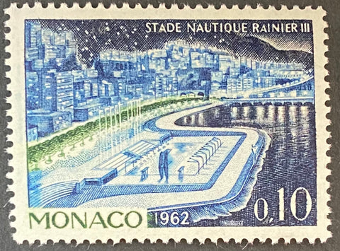 """Stade nautique Prince Rainier III"" - Aquatic stadium Prince Rainier III - 10 centimes MNH old stamp - Monaco - 1962  Type: taille-douce Yvert & Tellier: MC 539A"