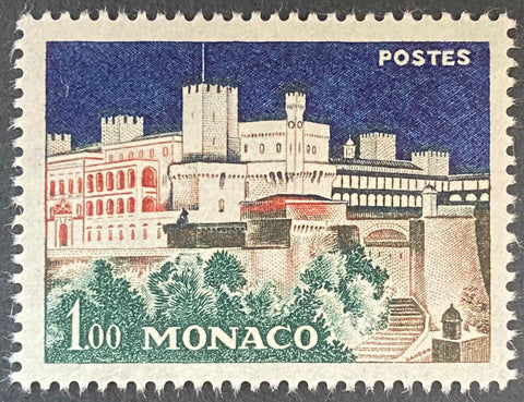 """Bâtiments de Monaco - Le Palais Princier illuminé"" - Monaco buildings - The Prince's Palace illuminated - 1 franc MNH old stamp - Monaco - 1960  Type: taille-douce Yvert & Tellier: MC 550"