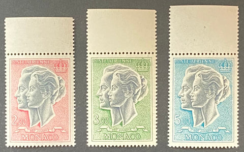 """Poste aérienne - Prince Rainier III et Princesse Grace"" - Air mail - Prince Rainier III and Princess Grace - complete set of 3 MNH old stamps - Monaco - 1966  Type: taille-douce Yvert & Tellier: MC PA 87 - PA 88 - PA 89"