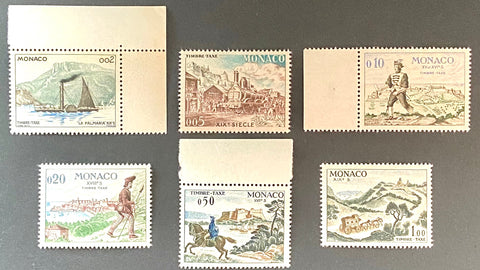 """Livraison du courrier"" - Mail delivery - set of 6 MNH old tax stamps - Monaco - 1960  Type: taille-douce Yvert & Tellier: MC TS 57 - TS 58 - TS 59 - TS 60 - TS 61 - TS 62"