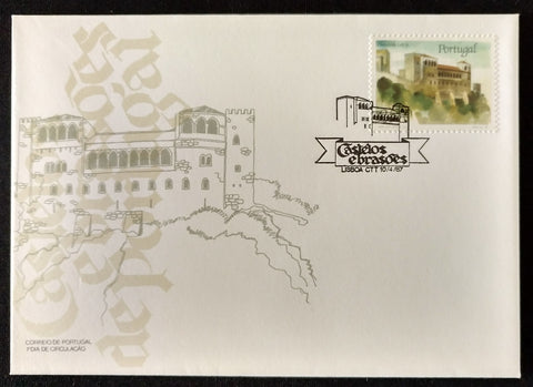 "Portugal FDC with 1 old stamp - ""Castelos e Brasões - Castelo de Leiria - 5. grupo"" - Castles and Coats - Castle of Leiria - 5th. group - Portugal - 1987  Envelope do 1. dia de circulação do Correio de Portugal - afinsa 1799"