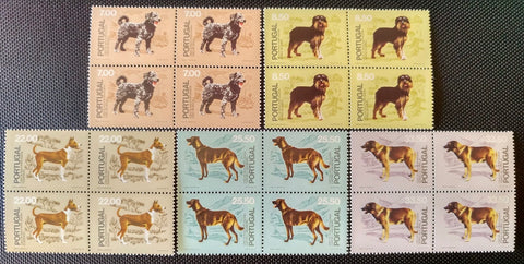 "Set of 5 blocks of 4 mint never hinged old stamps - ""Cães de Raça Portuguesa"" - Portuguese breed dogs - Portugal - 1981  Stamp   7$00 Afinsa 1511 Stamp   8$50 Afinsa 1512 Stamp 22$00 Afinsa 1514 Stamp 25$50 Afinsa 1515 Stamp 33$50 Afinsa 1516"