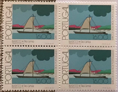 "Block of 4 mint never hinged old stamps of 16$00 - ""Barcos dos rios Portugueses"" - Portuguese river boats - Portugal - 1981  Stamp 16$00 Afinsa 1507"