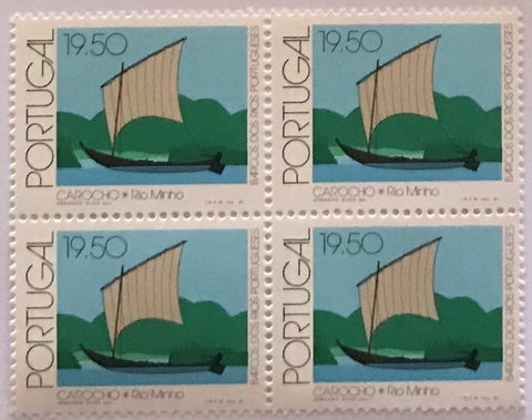 "Block of 4 mint never hinged old stamps of 19$50 - ""Barcos dos rios Portugueses"" - Portuguese river boats - Portugal - 1981  Stamp 19$50 Afinsa 1508"