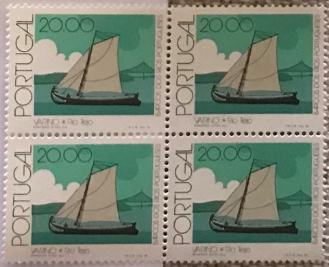 "Block of 4 mint never hinged old stamps of 20$00 - ""Barcos dos rios Portugueses"" - Portuguese river boats - Portugal - 1981  Stamp 20$00 Afinsa 1509"