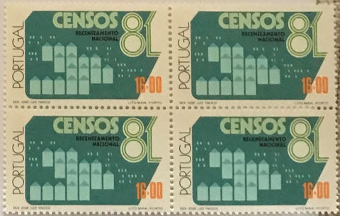 "Block of 4 mint never hinged old stamps of 16$00 - ""Censos 81"" - Censuses 81 - Portugal - 1981  Stamp 16$00 Afinsa 1503"