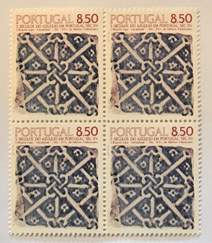 "Complete set of 4 blocks of 4 mint never hinged old stamps - ""5 séculos do Azulejo em Portugal"" - 5 centuries of tiles in Portugal - 1981"