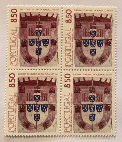 "Block of 4 mint never hinged old stamps - ""5 séculos do Azulejo em Portugal - motivo 3"" - 5 centuries of tiles in Portugal - design 3 - 1981  Stamp 8$50 Afinsa 1532 - design 3 - issued 28-08-1981"