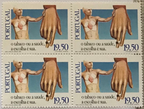 "Block of 4 mint never hinged old stamps of 19$50 - ""O tabaco ou a saúde, a escolha é sua"" - Tobacco or health, it's your choice - Portugal - 1980  Stamp 19$50 Afinsa 1501"