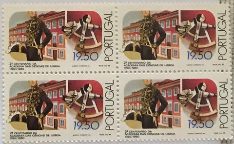 "Block of 4 mint never hinged old stamps of 19$50 - ""2. centenário da Academia de Ciências de Lisboa"" - 200th. anniversary of the Lisbon Academy of Sciences - Portugal - 1980  Stamp 19$50 Afinsa 1499"