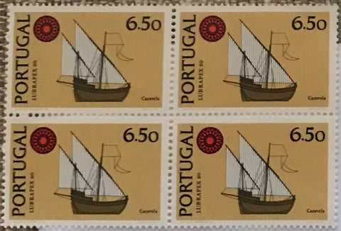 "Block of 4 mint never hinged old stamps of 6$50 - ""Exposição Int. de Selos Lubrapex 80 - Barcos"" - Lubrapex 80 International Stamp Exhibition - Ships - Portugal - 1980  Stamp   6$50 Afinsa 1492"