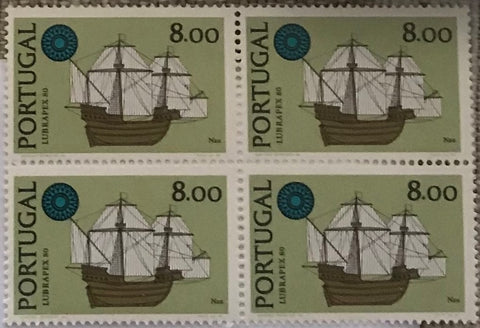 "Block of 4 mint never hinged old stamps of 8$00 - ""Exposição Int. de Selos Lubrapex 80 - Barcos"" - Lubrapex 80 International Stamp Exhibition - Ships - Portugal - 1980  Stamp   8$00 Afinsa 1493"