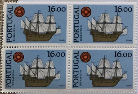 "Block of 4 mint never hinged old stamps of 16$00 - ""Exposição Int. de Selos Lubrapex 80 - Barcos"" - Lubrapex 80 International Stamp Exhibition - Ships - Portugal - 1980"