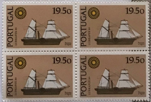 "Block of 4 mint never hinged old stamps of 19$50 - ""Exposição Int. de Selos Lubrapex 80 - Barcos"" - Lubrapex 80 International Stamp Exhibition - Ships - Portugal - 1980  Stamp 19$50 Afinsa 1495"