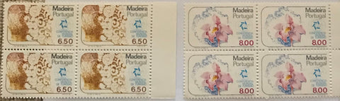 "Set of 2 blocks of 4 mint never hinged old stamps - ""Conferência Mundial de Turismo - Madeira"" - World Tourism Conference - Madeira - Portugal - 1980  Stamp 6$50 Afinsa 1489 Stamp 8$00 Afinsa 1490"