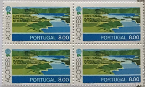 "Block of 4 mint never hinged old stamps of 8$00 - ""Conferência Mundial de Turismo - Açores"" - World Tourism Conference - Azores - Portugal - 1980  Stamp 8$00 Afinsa 1484"