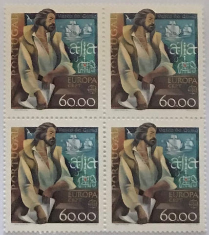 "Block of 4 mint never hinged old stamps of 60$00 - ""Europa CEPT - Personagens Célebres - Serpa Pinto e Vasco da Gama"" - Europe CEPT: Famous people - Serpa Pinto and Vasco da Gama - Portugal - 1980  Stamp 60$00 Afinsa 1465"
